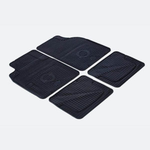 Set of winter car mats on white background